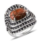 Mojave Orange Turquoise, Thai Black Spinel Platinum Over Sterling Silver Ring (Size 8.0) TGW 8.600 cts.