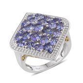 Tanzanite 14K YG and Platinum Over Sterling Silver Cluster Ring (Size 8.0) TGW 5.300 cts.