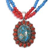 Tribal Collection of India Mojave Blue Turquoise, Red Coral Platinum Over Sterling Silver Pendant with Blue Agate, Coral Bead Necklace (20 in) TGW 97.650 cts.