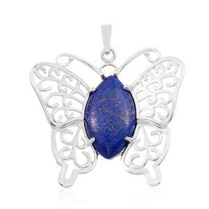 Lapis Lazuli (Mrq) Pendant without Chain in Silvertone TGW 10.770 cts.
