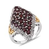 Anthill Garnet, White Topaz 14K YG and Platinum Over Sterling Silver Ring (Size 9.0) TGW 4.270 cts.