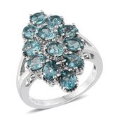 Madagascar Paraiba Apatite Platinum Over Sterling Silver Ring (Size 6.0) TGW 4.680 cts.