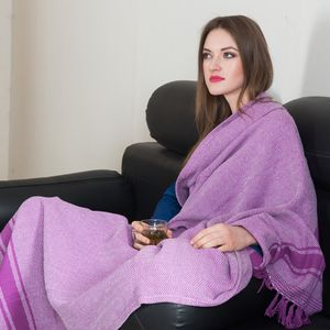 Purple 100% Cotton Throw (50x60 in)