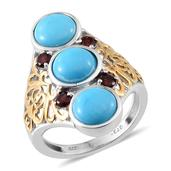 Arizona Sleeping Beauty Turquoise, Anthill Garnet 14K YG and Platinum Over Sterling Silver Ring (Size 7.0) TGW 5.350 cts.