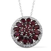 Anthill Garnet, White Topaz Platinum Over Sterling Silver Pendant With Chain (20 in) TGW 7.56 Cts.