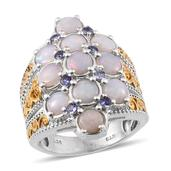 Australian White Opal, Tanzanite 14K YG and Platinum Over Sterling Silver Ring (Size 8.0) TGW 3.350 cts.