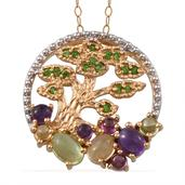 Treasures from the Orient Multi Gemstone 14K YG Over Sterling Silver Chinese Pine Tree Pendant With Chain (20 in) TGW 1.935 cts.