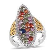 Multi Gemstone 14K YG and Platinum Over Sterling Silver Ring (Size 9.0) TGW 4.510 cts.