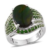 Canadian Ammolite, Russian Diopside Platinum Over Sterling Silver Ring (Size 7.0) TGW 7.110 cts.