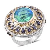 Peacock Quartz, Catalina Iolite 14K YG and Platinum Over Sterling Silver Ring (Size 10.0) TGW 11.800 cts.