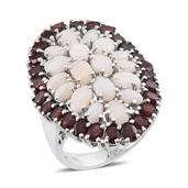 Australian White Opal, Mozambique Garnet Platinum Over Sterling Silver Ring (Size 7.0) TGW 10.250 cts.