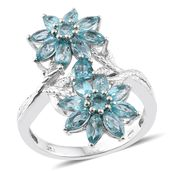Madagascar Paraiba Apatite Platinum Over Sterling Silver Floral Ring (Size 9.0) TGW 4.85 cts.