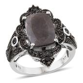 Natural Silver Sapphire (Cush 8.40 Ct), Thai Black Spinel Ring in Platinum Overlay Sterling Silver Nickel Free (Size 8) TGW 9.18 Cts.