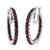 Mozambique Garnet Platinum Over Sterling Silver Inside Out Hoop Earrings TGW 8.60 Cts.