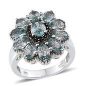 Cambodian Blue Zircon, Thai Black Spinel Platinum Over Sterling Silver Ring (Size 6.0) TGW 8.730 cts.