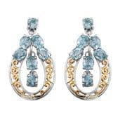 Cambodian Blue Zircon 14K YG and Platinum Over Sterling Silver Earrings TGW 7.20 Cts.