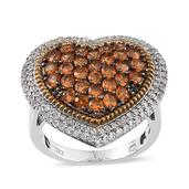 Viceroy Spessartite Garnet, White Topaz 14K YG and Platinum Over Sterling Silver Heart Ring (Size 5.0) TGW 4.200 cts.