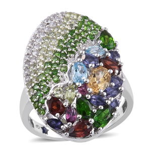 GP Multi Gemstone 14K YG Over Sterling Silver Ring (Size 9.0) TGW 5.051 cts.
