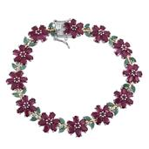 Niassa Ruby, Multi Gemstone 14K YG and Platinum Over Sterling Silver Bracelet (7.50 In) TGW 25.640 cts.