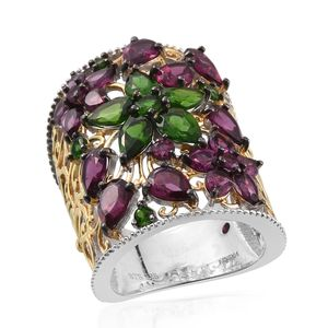 Royal Jaipur Multi Gemstone 14K YG and Platinum Over Sterling Silver Ring (Size 7.0) TGW 8.057 cts.