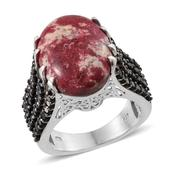 Norwegian Thulite, Thai Black Spinel Platinum Over Sterling Silver Ring (Size 7.0) TGW 25.400 cts.