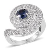 Strontium Titanate, White Topaz Platinum Over Sterling Silver Ring (Size 6.0) TGW 3.750 cts.