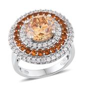 Strontium Titanate, White Zircon, Santa Ana Madeira Citrine Platinum Over Sterling Silver Ring (Size 8) TGW 8.020 cts.