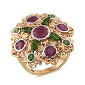 Royal Jaipur Niassa Ruby, Russian Diopside 14K YG and Platinum Over Sterling Silver Openwork Statement Ring (Size 7.0) TGW 4.78 cts.