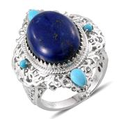 Royal Jaipur Lapis Lazuli, Arizona Sleeping Beauty Turquoise, Ruby Platinum Over Sterling Silver Ring (Size 8.0) TGW 16.253 cts.