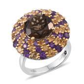 GP Brazilian Smoky Quartz, Multi Gemstone Platinum Over Sterling Silver Ring (Size 8.0) TGW 10.720 cts.