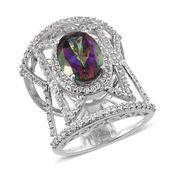 Northern Lights Mystic Topaz, White Topaz Platinum Over Sterling Silver Ring (Size 6.0) TGW 9.75 cts.