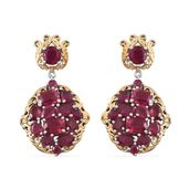 Niassa Ruby 14K YG and Platinum Over Sterling Silver Earrings TGW 19.310 cts.