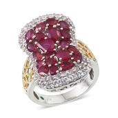 Niassa Ruby, White Topaz, Boyaca Colombian Emerald 14K YG and Platinum Over Sterling Silver Ring (Size 5.0) TGW 7.860 cts.
