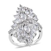 J Francis - Platinum Over Sterling Silver Ring Made with SWAROVSKI ZIRCONIA (Size 8.0) TGW 11.870 cts.