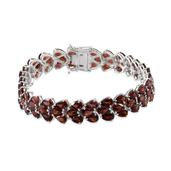 Mozambique Garnet Platinum Over Sterling Silver Bracelet (7.50 In) TGW 40.000 cts.