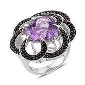 GP Amethyst (Hrt 11.00 Ct), Multi Gemstone Ring in Platinum Overlay Sterling Silver Nicklel Free (Size 7.0) TGW 12.550 cts.