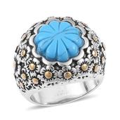 Blue Howlite ION Plated YG and Stainless Steel Ring (Size 7.0) TGW 15.000 cts.
