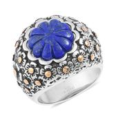 Lapis Lazuli ION Plated YG and Stainless Steel Floral Engraved Ring (Size 8.0) TGW 6.50 cts.