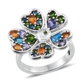 GP Multi Gemstone Platinum Over Sterling Silver Flower Ring (Size 7.0) TGW 2.612 cts.