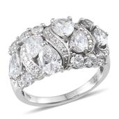 J Francis - Platinum Over Sterling Silver Ring Made with SWAROVSKI ZIRCONIA (Size 7.0) TGW 6.500 cts.