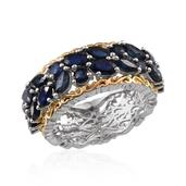 Kanchanaburi Blue Sapphire 14K YG and Platinum Over Sterling Silver Ring (Size 7.0) TGW 4.520 cts.