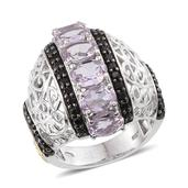 Rose De France Amethyst (Ovl), Thai Black Spinel Complex Ring in 14K YG and Platinum Overlay Sterling Silver Nickel Free (Size 9.0) TGW 5.54 Cts.