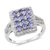 Tanzanite, White Zircon Platinum Over Sterling Silver Cluster Split Ring (Size 10.0) TGW 3.150 cts.