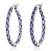 Tanzanite Platinum Over Sterling Silver Inside Out Hoop Earrings TGW 8.250 cts.