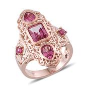 Royal Jaipur Pure Pink Mystic Topaz, Niassa Ruby, Ruby 14K RG Over Sterling Silver Ring (Size 8.0) TGW 4.740 cts.