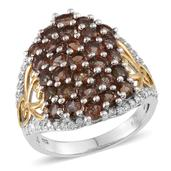 Jenipapo Andalusite, White Zircon 14K YG and Platinum Over Sterling Silver Ring (Size 8.0) TGW 5.25 cts.