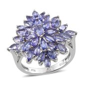 Tanzanite Platinum Over Sterling Silver Fancy Cluster Ring (Size 8.0) TGW 5.250 cts.