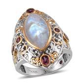Royal Jaipur Rainbow Moonstone, Orissa Rhodolite Garnet, Ruby 14K YG and Platinum Over Sterling Silver Ring (Size 6.0) TGW 10.310 cts.