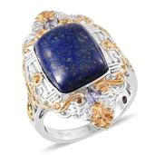 Royal Jaipur Lapis Lazuli, Catalina Iolite, Ruby 14K YG and Platinum Over Sterling Silver Ring (Size 7.0) TGW 13.330 cts.