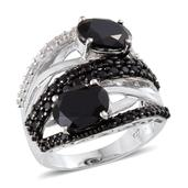 Thai Black Spinel, White Topaz Platinum Over Sterling Silver Open Shank Ring (Size 6.0) TGW 9.030 cts.